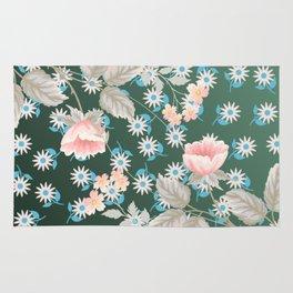 Green Flowers Pattern Rug