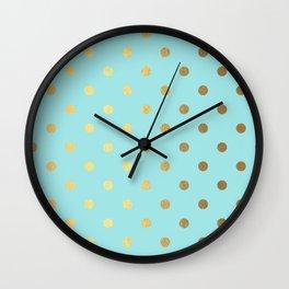 Gold polka dots on aqua background - Luxury turquoise pattern #Society6 Wall Clock