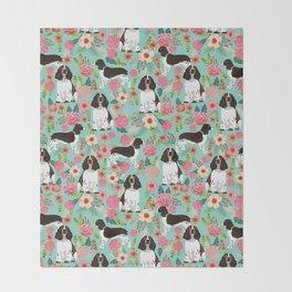 English Springer Spaniel florals cute dog art pet portraits by pet friendly dog breeds Throw Blanket