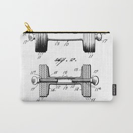Weight Lifting Patent - Dumb Bell Art - Black And White Carry-All Pouch