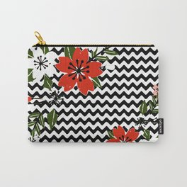 Floral on Black and White Background Carry-All Pouch