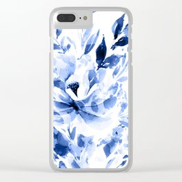 Blue Blomm Clear iPhone Case