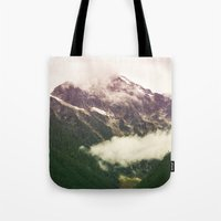 the mountains are calling Tote Bags featuring The Mountains Are Calling by Noonday Design