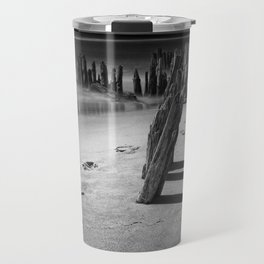 Trail of footprints on the beach at Kirk Park near Grand Haven on Lake Michigan Travel Mug