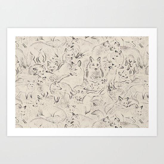 Resting foxes Art Print
