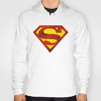 superman Hoodies featuring Superman by S.Levis