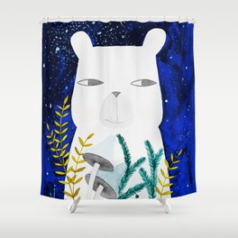 polar bear with botanical illustration in blue Shower Curtain