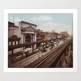 The Bowery New York City Photo-Print (1898) Art Print