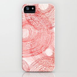 Pink circles abstract lines hand drawn illustration pattern iPhone Case