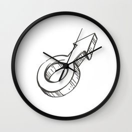 Male Illustration Wall Clock