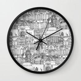 Edinburgh toile black white Wall Clock