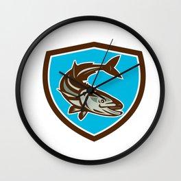 Cobia Fish Diving Down Shield Retro Wall Clock