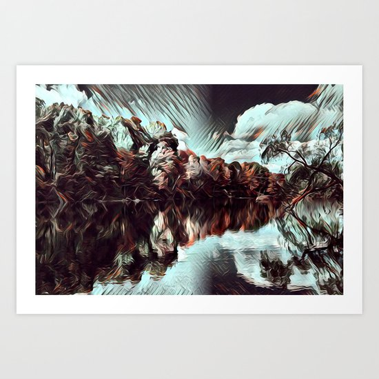 Dark & Eerie Forest on the River (Black & White) Art Print