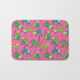 kitty kat (green on pink) Bath Mat