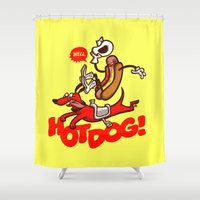 hot dog Shower Curtains featuring Hot Dog! by Gimetzco's Damaged Goods