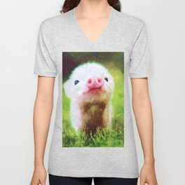 CUTE LITTLE BABY PIG PIGLET Unisex V-Neck
