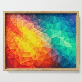 Abstract Polygon Multi Color Cubism Low Poly Triangle Design Serving Tray