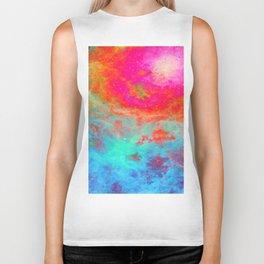 Galaxy : Bright Colorful Nebula Biker Tank