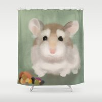 hamster Shower Curtains featuring Harvest Hamster by Visual Condyle