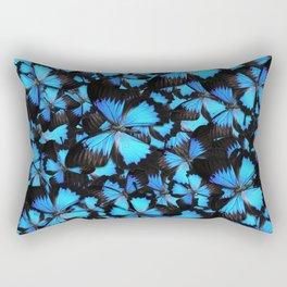 Blue and Black Butterflies Rectangular Pillow