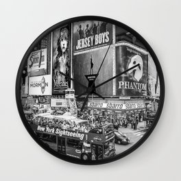 Times Square II (B&W widescreen) Wall Clock