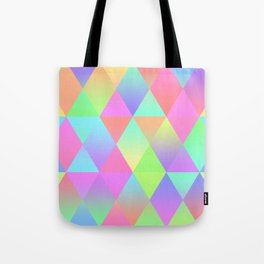 Colorful Geometric Pattern Prism Holographic Foil Triangle Texture Tote Bag