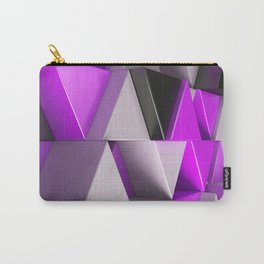 Pattern of black, white and purple triangle prisms Carry-All Pouch
