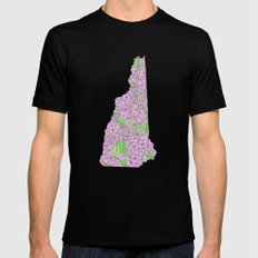 New Hampshire in Flowers Black MEDIUM Mens Fitted Tee