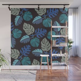Blue Frond Wall Mural