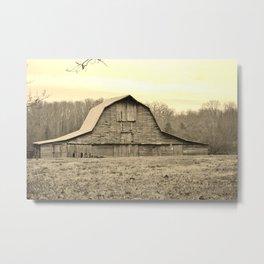 Sepia Tone Of Old Barn Metal Print