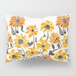 Sunflower Watercolor – Yellow & Black Palette Pillow Sham