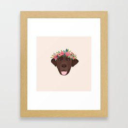 Chocolate Lab floral crown dog breed pet art labrador retrievers dog lovers giftsChocolate Lab flora Framed Art Print