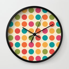 Mid Century Color Dots Wall Clock