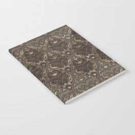 Oriental Pattern -Pastels and Brown Leather texture Notebook