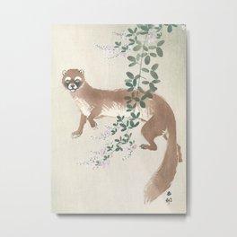 Weasel and the flowers - Vintage Japanese Woodblock Print Art Metal Print