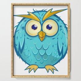 blue owl cartoon Serving Tray
