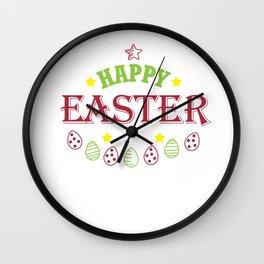 Happy Easter Cute Women Men Kids Design Holiday Gift Wall Clock