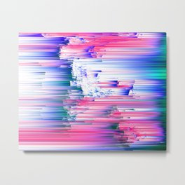 Only 90s Kids - Pastel Glitchy Abstract Pixel Art Metal Print
