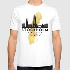 STOCKHOLM SWEDEN SILHOUETTE SKYLINE MAP ART White Mens Fitted Tee MEDIUM