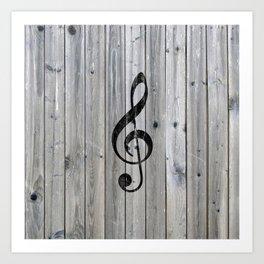 Vintage black music note Treble Clef gray wood Art Print