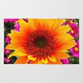ABSTRACT GOLD SUNFLOWER FLOWERS ART Rug