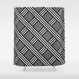 Pantone Pewter, Black & White Diagonal Stripes Lattice Pattern Shower Curtain
