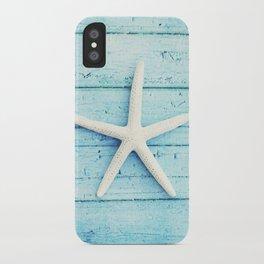 Starfish Beach Photography, Aqua Seashell Art, Coastal Nautical Photograph iPhone Case