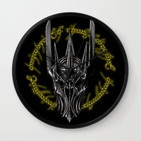 middle earth Wall Clocks featuring The Dark Lord of middle Earth by ddjvigo