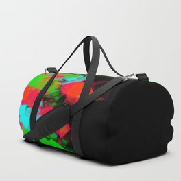 geometric triangle abstract pattern in green blue red with black background Duffle Bag