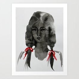 Ink Portrait - back white and red inky watercolour illustration painting Art Print