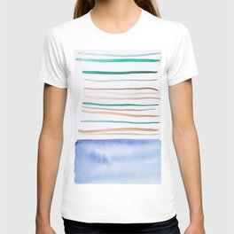 24   |181026 Lines & Color Block | Watercolor Abstract | Modern Watercolor Art T-shirt