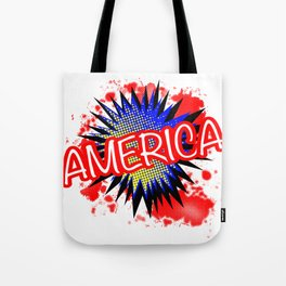 America Red White And Blue Cartoon Exclamation Tote Bag