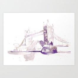 Watercolor landscape illustration_London Bridge Art Print