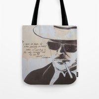 hunter s thompson Tote Bags featuring Hunter S. Thompson by Emily Storvold